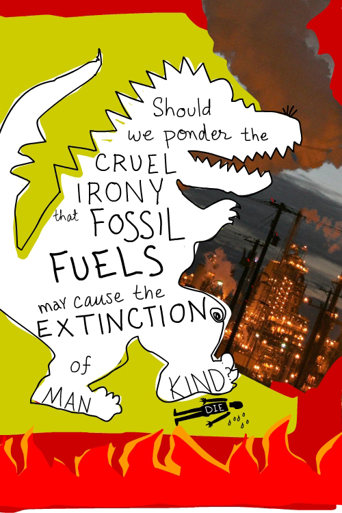 dinosaur drawing by Franke James with photo by Greenpeace of Tar Sands