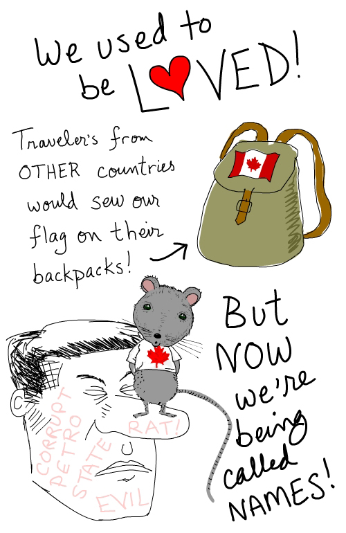 backpack flag love illustration by Franke James