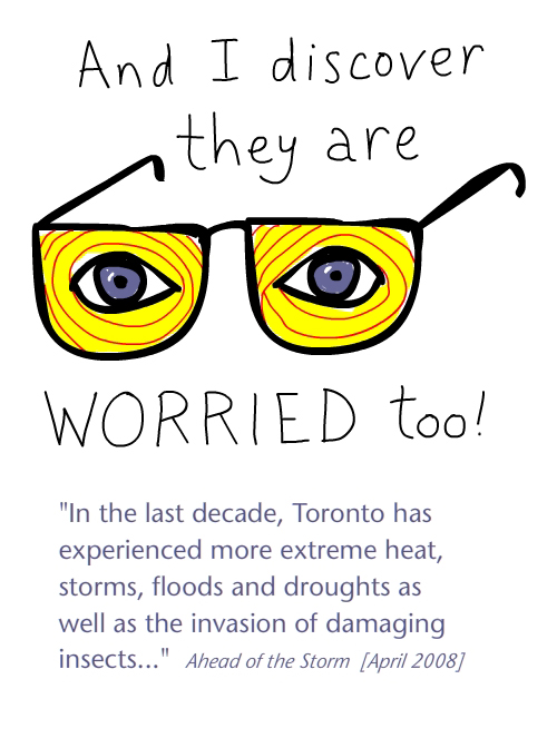 City worries too drawing by Franke James features quote from Toronto's 'Ahead of the Storm brochure