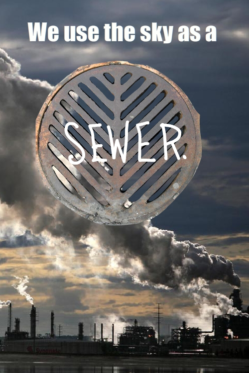 Sewer grate in the sky photo-illustration by Franke James, using Greenpeace Tar Sands Sky photo