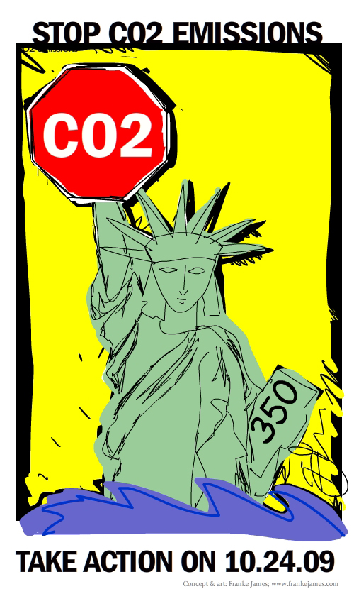 CO2 stop sign and statue of liberty illustration by Franke James